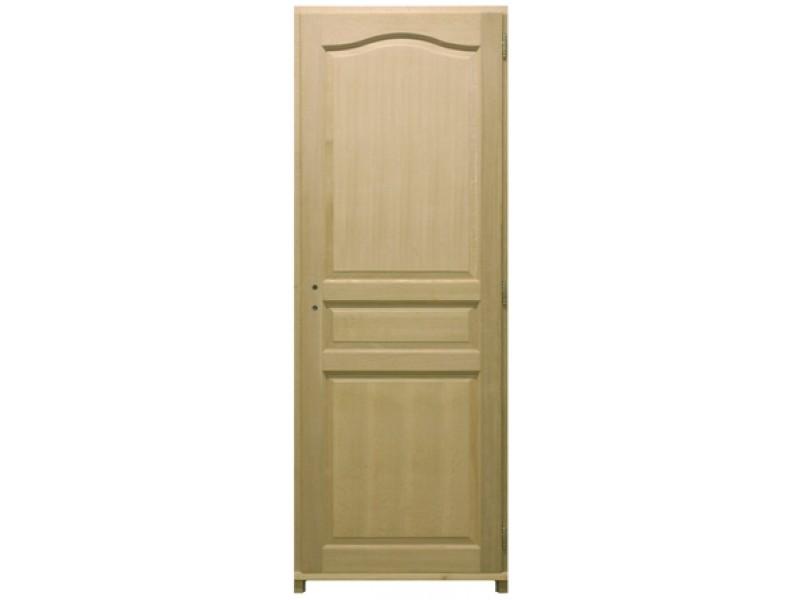 Bloc porte plaqu ch ne 3 panneaux h204xl73cm poussant gauche for Porte 3 panneaux