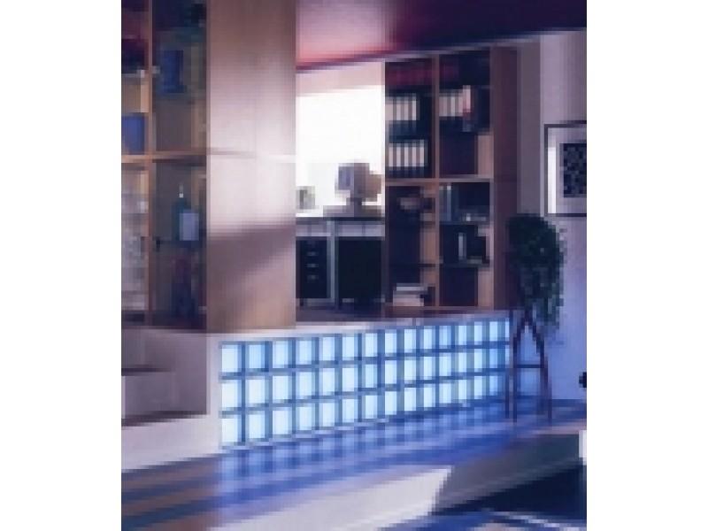 brique de verre ondul e couleur bleu clair. Black Bedroom Furniture Sets. Home Design Ideas