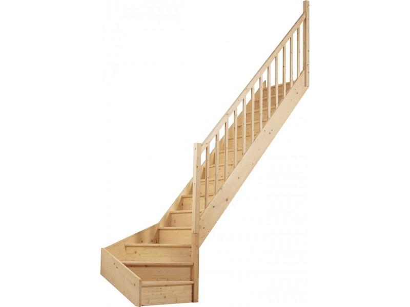 Escalier 1 4 Tournant Bas Droit En Sapin Pas Cher Achat Vente En