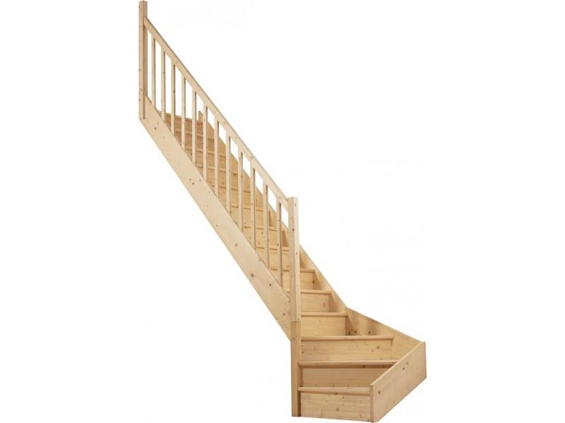 escalier 1 4 tournant bas gauche en sapin. Black Bedroom Furniture Sets. Home Design Ideas