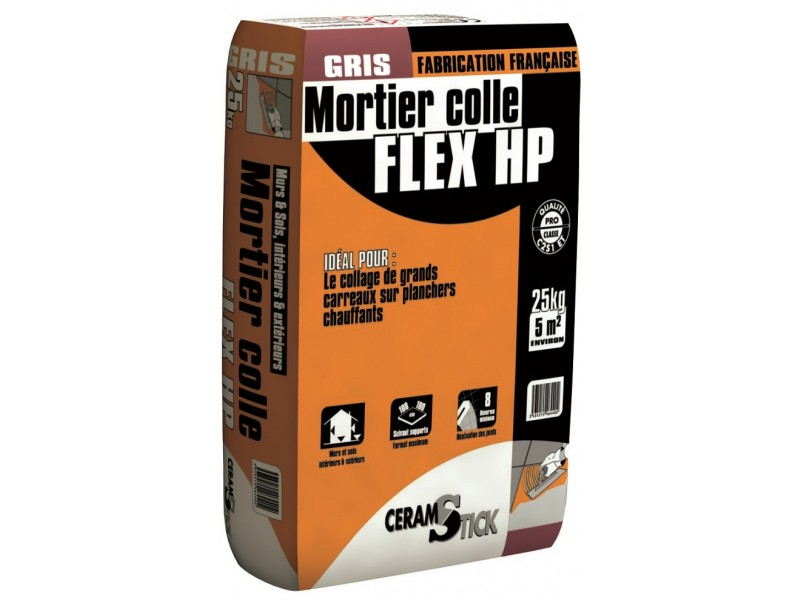 Mortier colle carrelage FLEX HP C2S1 ET - 25kg pas cher, Achat / Vente en ligne