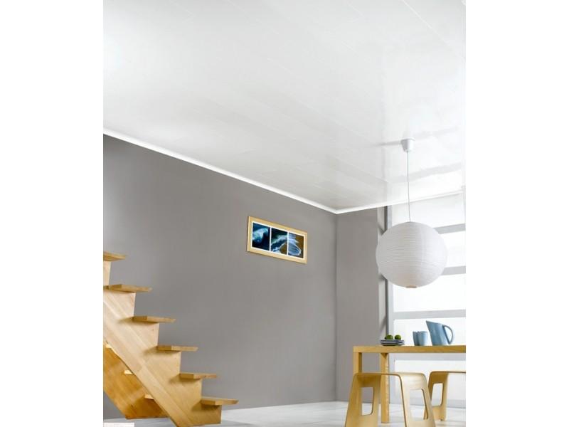 lambris pvc blanc brillant longueur 4 m. Black Bedroom Furniture Sets. Home Design Ideas