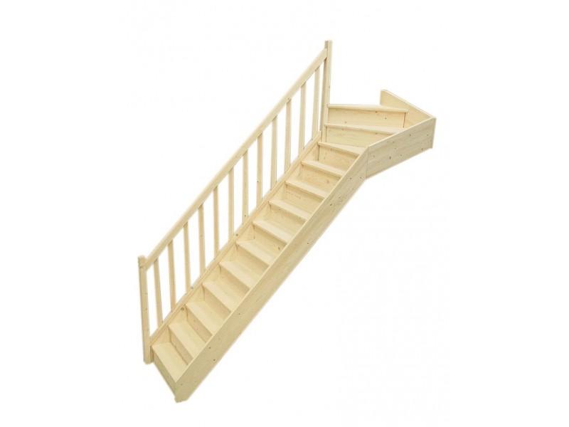 escalier 1 4 tournant haut gauche en sapin pas cher achat vente en ligne. Black Bedroom Furniture Sets. Home Design Ideas