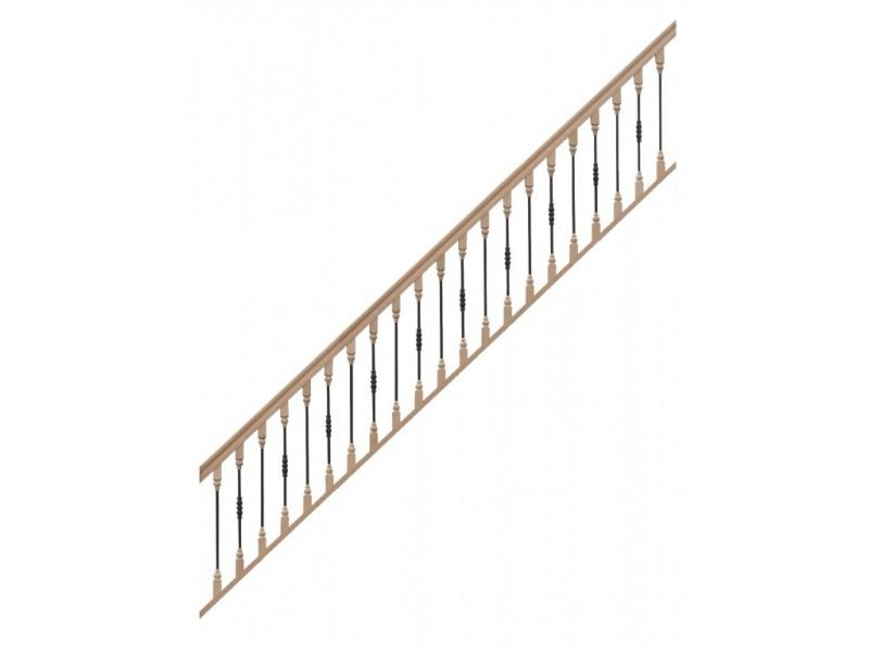 rampe pour escalier quart tournant bas hauteur 300 cm avec marche d bordante et hauteur 280 cm. Black Bedroom Furniture Sets. Home Design Ideas
