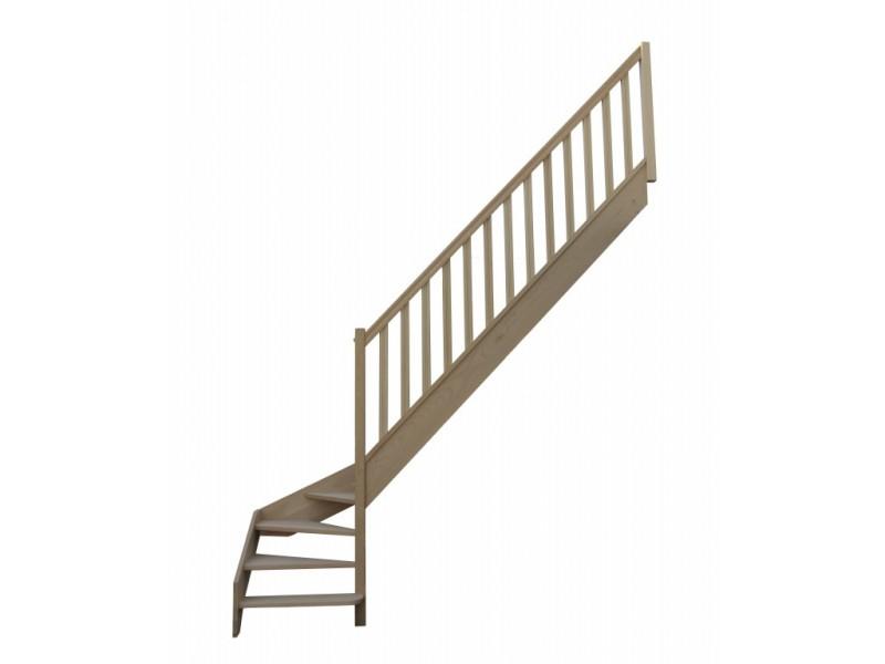 escalier quart tournant bas droit en h tre sans contre. Black Bedroom Furniture Sets. Home Design Ideas