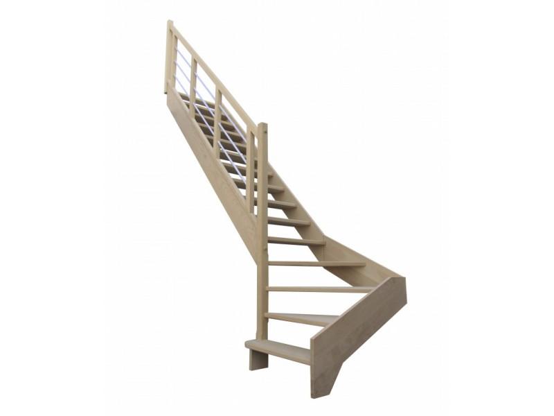 escalier quart tournant bas gauche en h tre sans contre marches sans rampe hauteur 280 cm. Black Bedroom Furniture Sets. Home Design Ideas