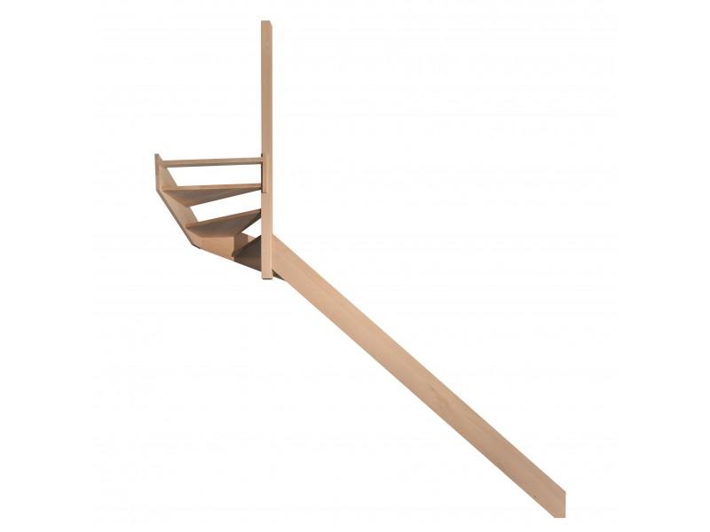 escalier quart tournant haut gauche en h tre sans contre. Black Bedroom Furniture Sets. Home Design Ideas