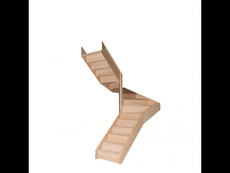 Escalier Demi Tournant En Hetre Avec Contre Marches Sans Rampe