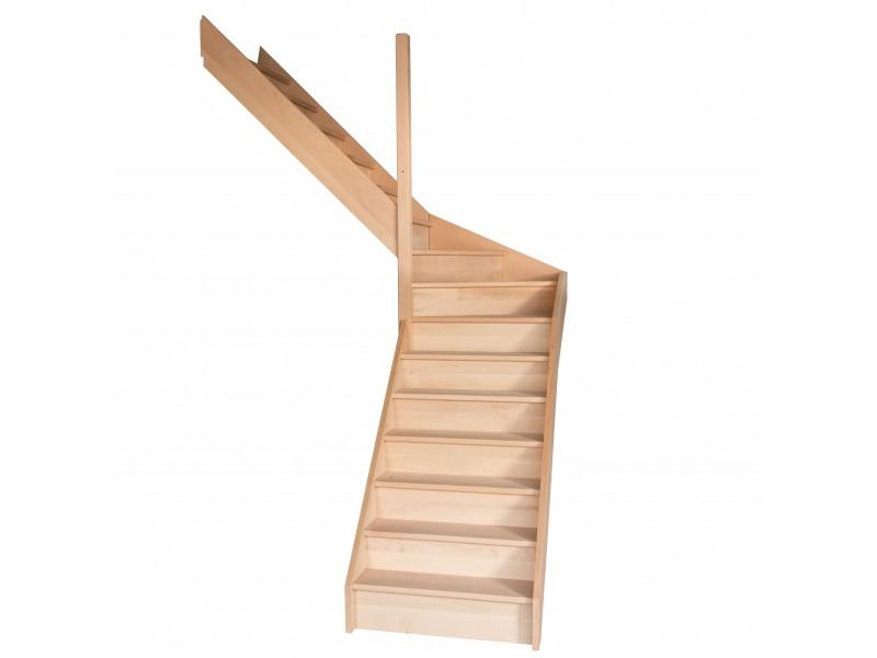 escalier quart tournant milieu en h tre avec contre marches sans rampe hauteur 300 cm. Black Bedroom Furniture Sets. Home Design Ideas