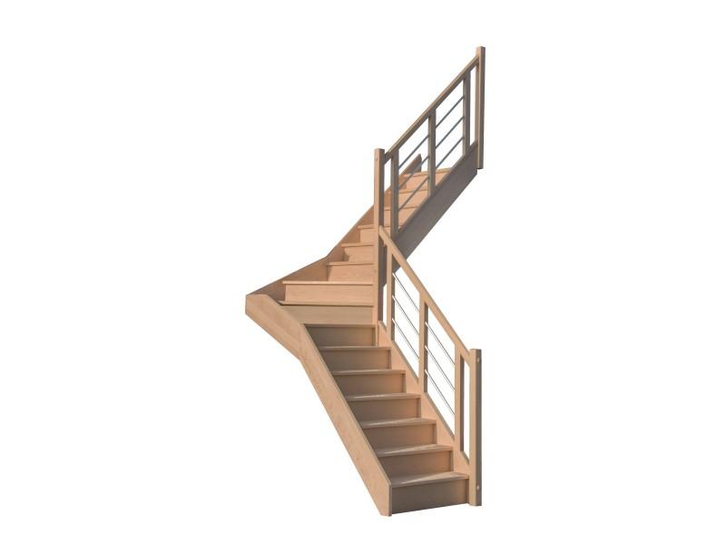 escalier quart tournant milieu en h tre avec contre marches sans rampe hauteur 272 cm. Black Bedroom Furniture Sets. Home Design Ideas
