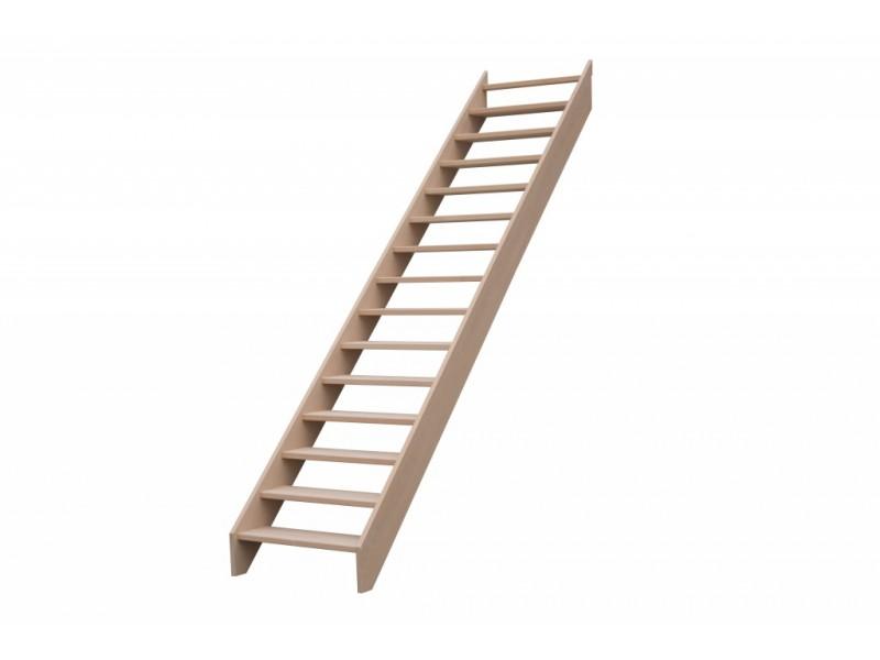 Escalier Droit En Hetre Sans Contre Marche Sans Rampe Hauteur 272 Cm