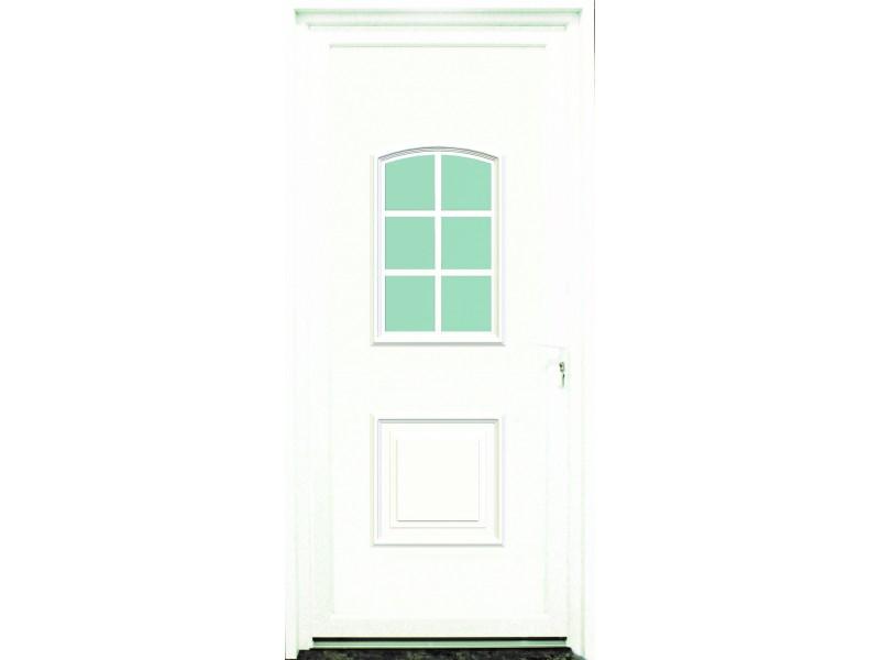 porte d entr e en pvc blanc 215 x 090 cm 6 carreaux gard poussant gauche. Black Bedroom Furniture Sets. Home Design Ideas