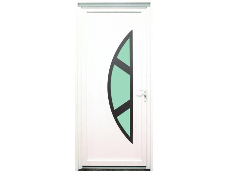 Porte d entr e en pvc blanc 215 x 090 cm demi lune marne - Porte d entree demi ronde ...