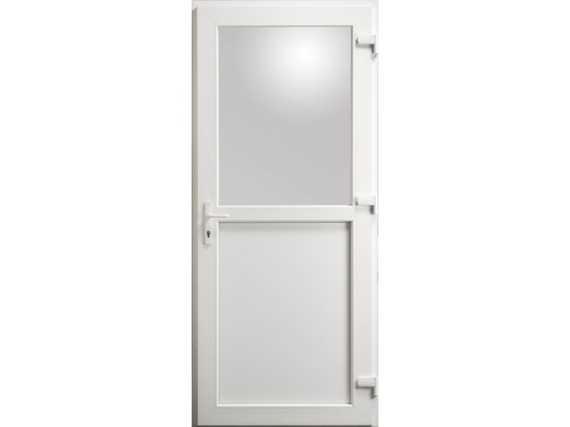 Porte de service en pvc blanc 215 x 090 cm avec 1 2 vitre clair poussant droit - Porte service pvc ...