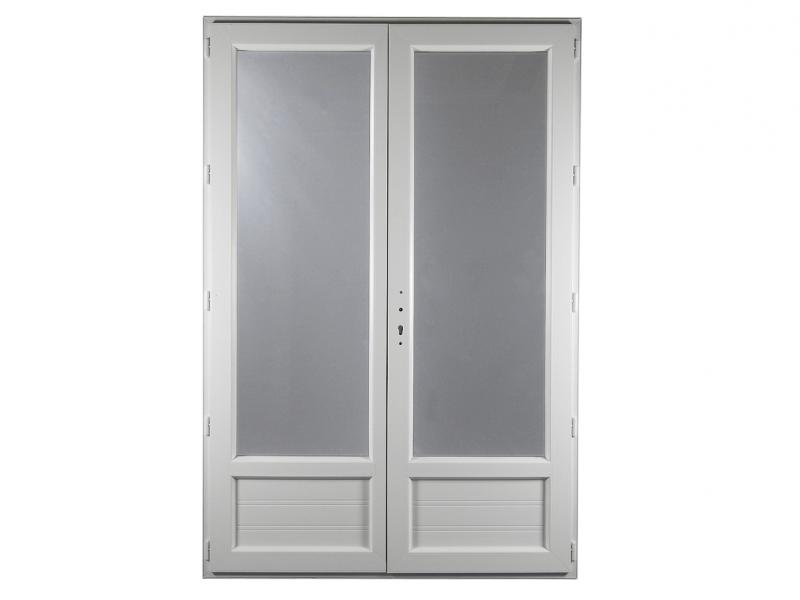 Porte fen tre pvc gamme e pro 2 vantaux h 215 x l 120 cm for Porte fenetre 240 x 215