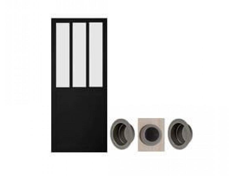 f24eeb44529 Porte coulissante atelier noire 204 x 73 cm