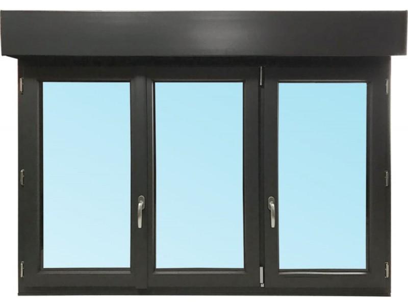 fen tre 3 vantaux en pvc h115xl180cm volet roulant int gr. Black Bedroom Furniture Sets. Home Design Ideas
