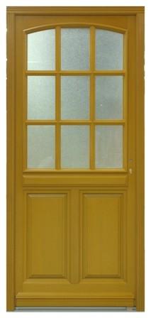 Porte d 39 entr e bois aline vitr e poussant droit h215xl90cm - Porte d entree vitree pas cher ...
