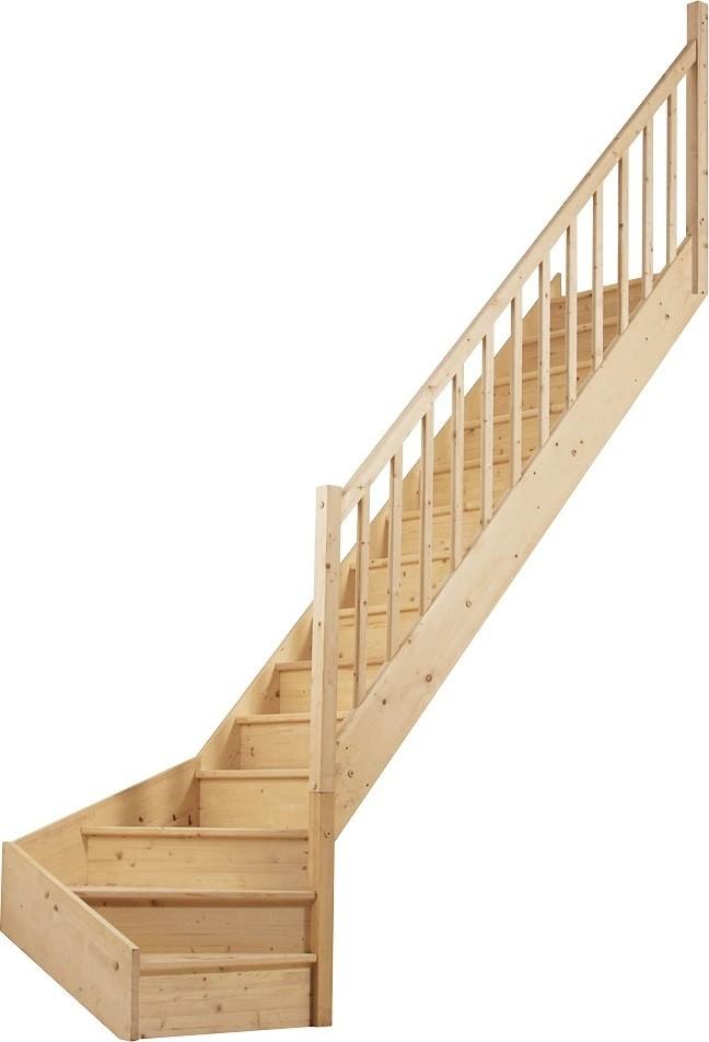 Escalier 1 4 tournant bas droit en sapin - Escalier quart tournant bas ...