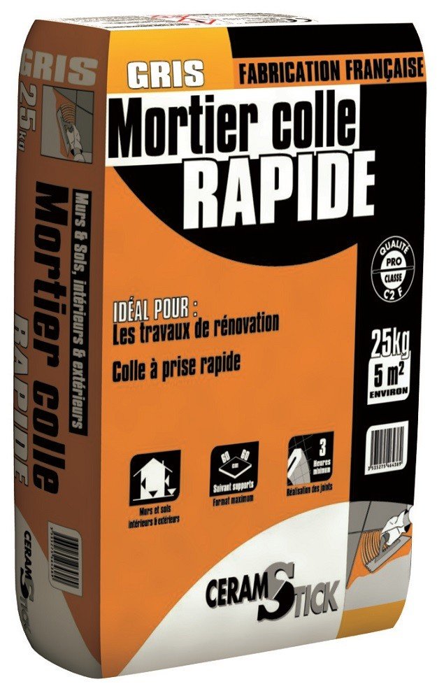 Mortier colle carrelage rapide c2 f 25 kg for Mortier colle carrelage castorama