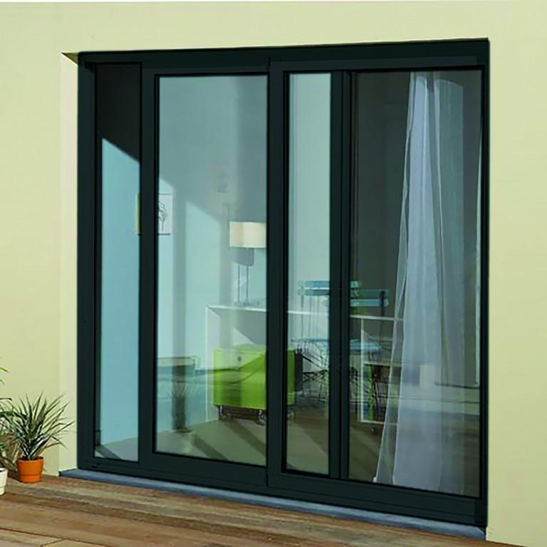 baie coulissante en aluminium h215 l180 gris anthracite rpt. Black Bedroom Furniture Sets. Home Design Ideas
