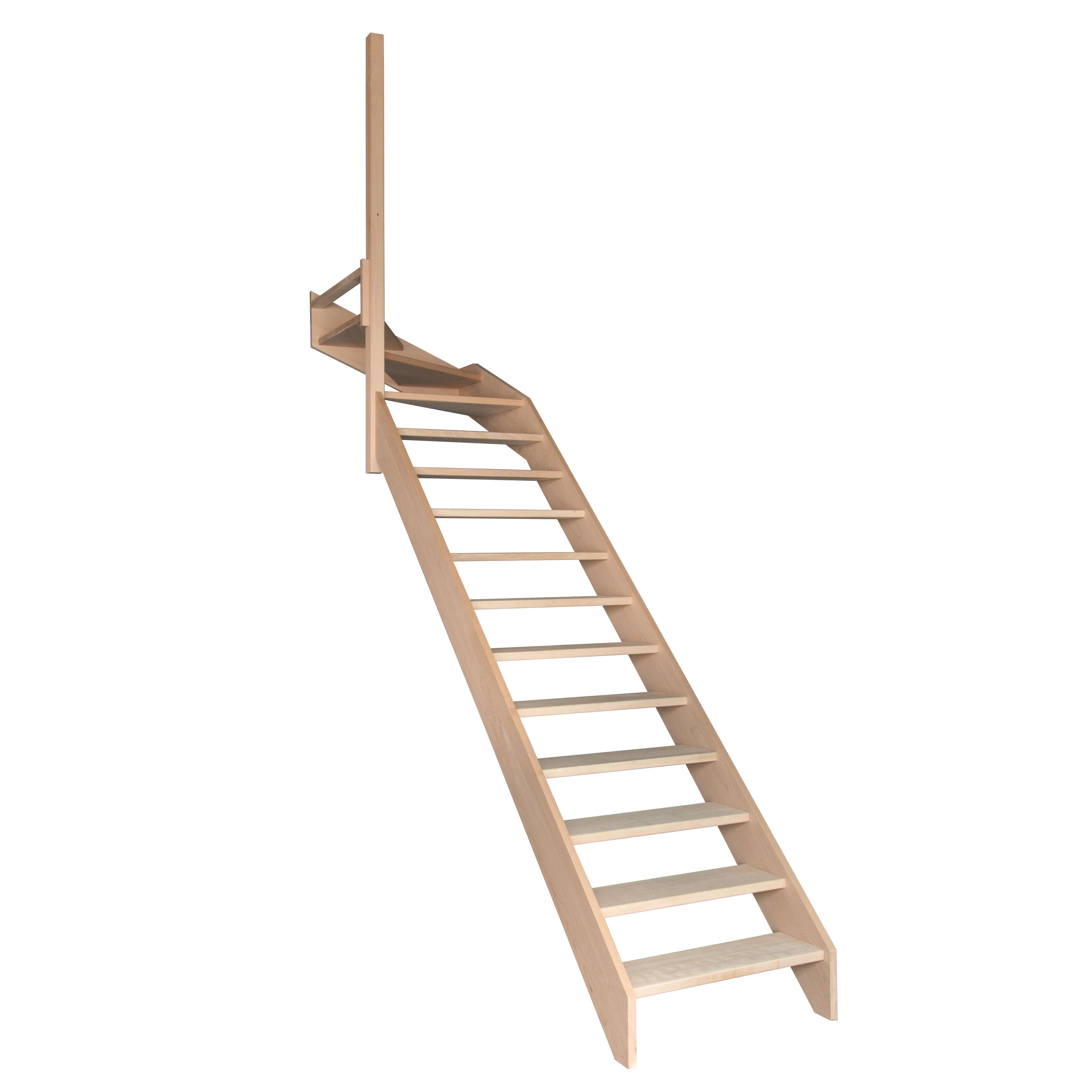 Escalier quart tournant haut gauche en hêtre sans contre marches sans rampe hauteur 280 cm pas ...