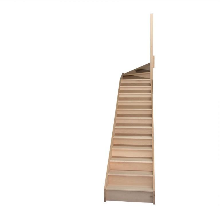 escalier quart tournant haut droit en h tre avec contre marches sans rampe hauteur 272 cm. Black Bedroom Furniture Sets. Home Design Ideas
