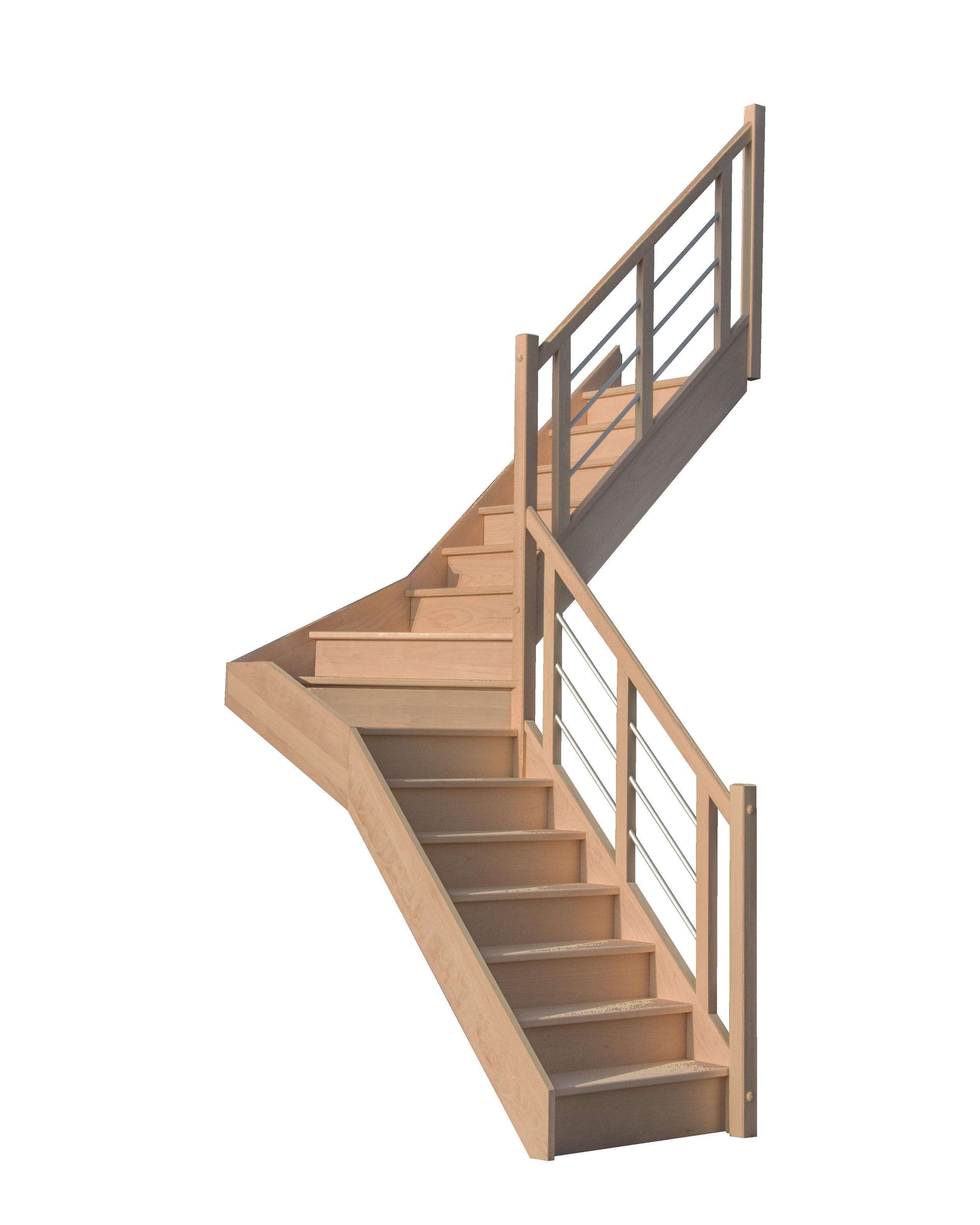 escalier quart tournant milieu en h tre avec contre marches sans rampe hauteur 272 cm pas cher. Black Bedroom Furniture Sets. Home Design Ideas