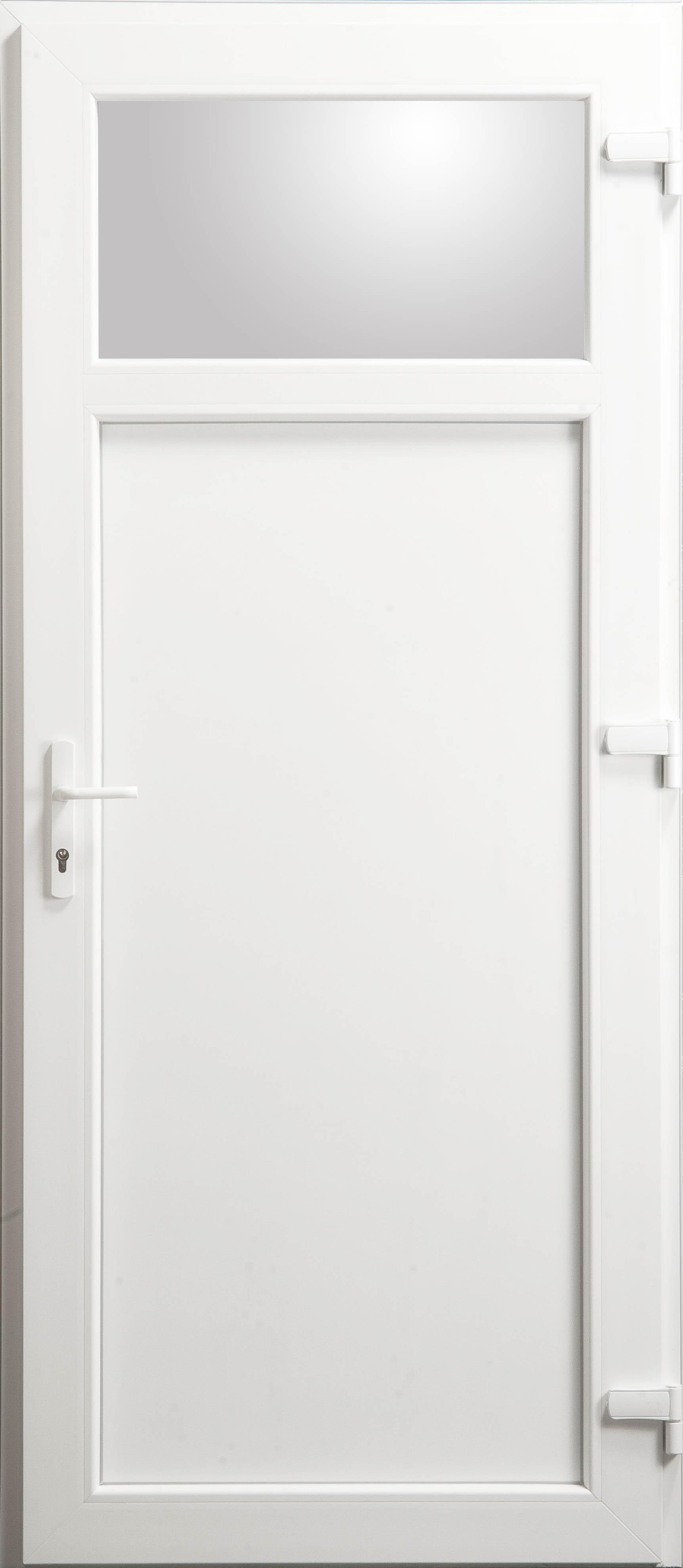 Porte de service occulus en pvc blanc 215 x 090 cm for Porte de service pvc 73 cm