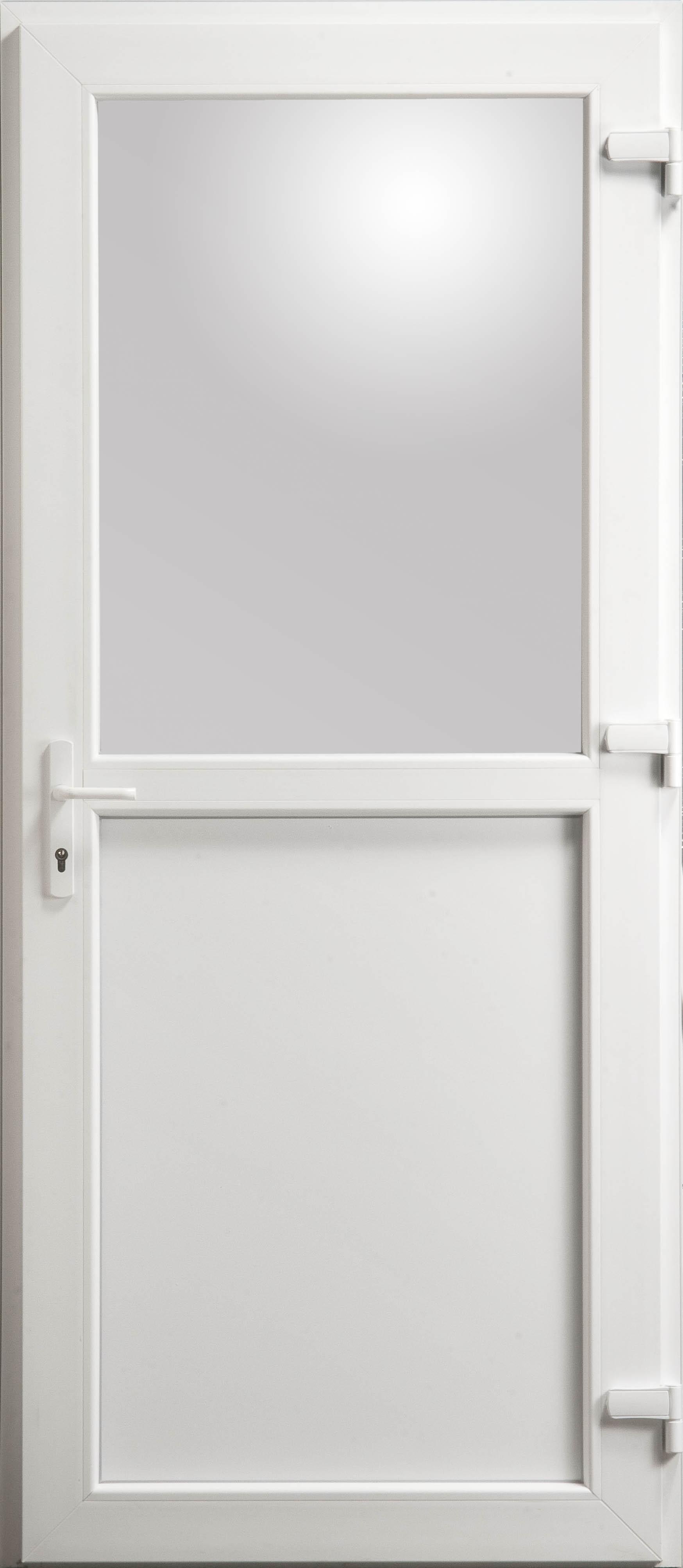 porte de service en pvc blanc 215 x 090 cm avec 1 2 vitre clair poussant gauche. Black Bedroom Furniture Sets. Home Design Ideas