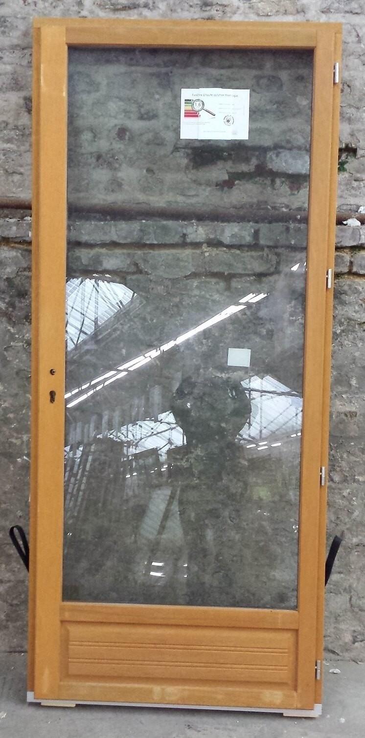 Porte-fenêtre en Bois Exotique 1 vantail tirant droit H215 x L80 cm pas cher, Achat / Vente en ligne