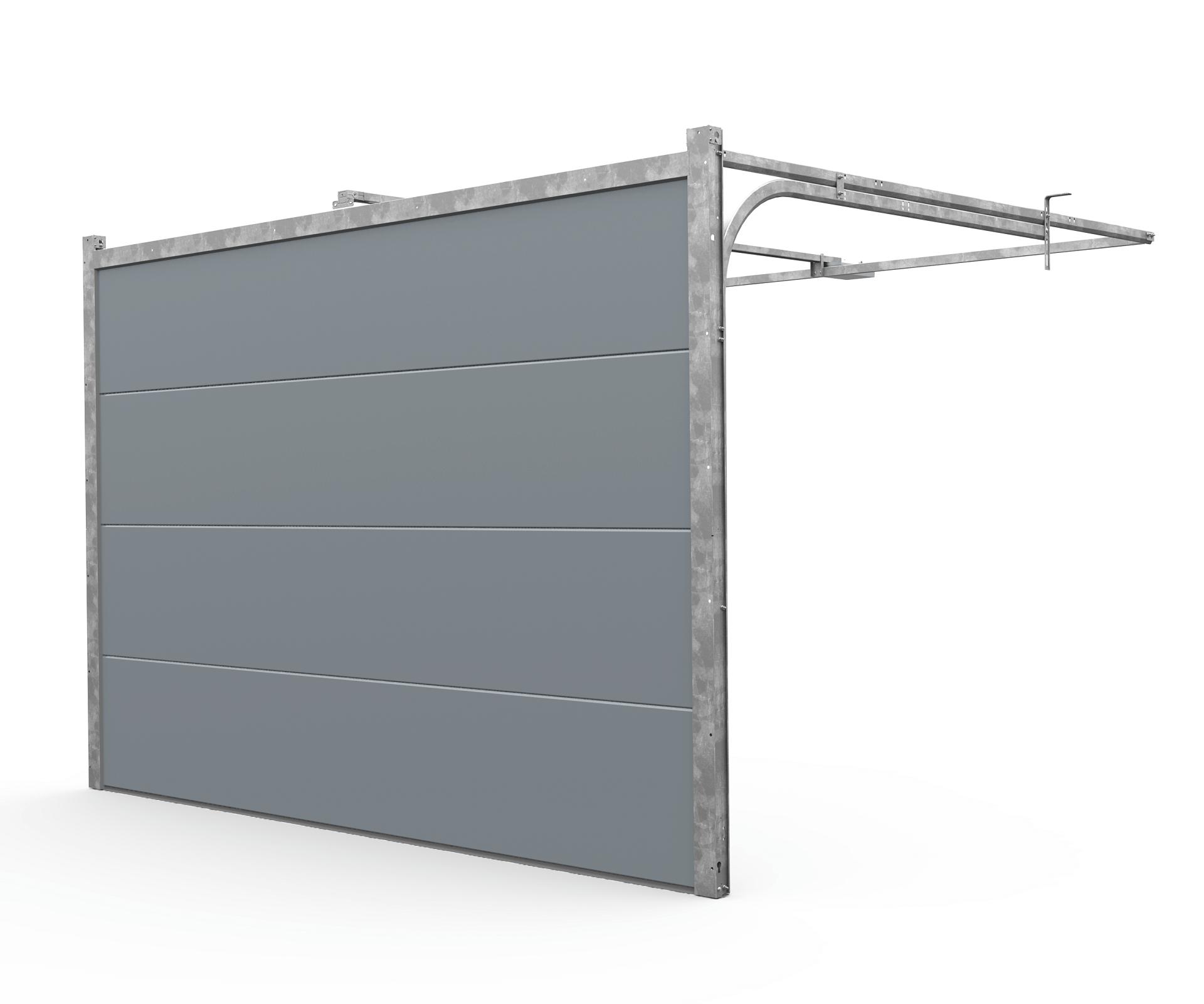 Porte De Garage Sectionnelle Motorisée 300 X 200cm Gris