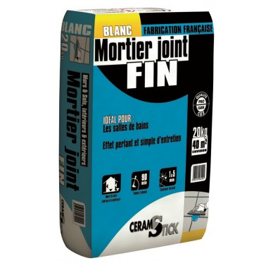 Mortier joint fin blanc - 20 kg