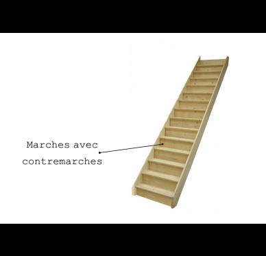 Lot de 14 marches avec contremarches pour escalier sapin en Kit