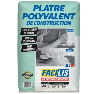 Plâtre polyvalent de construction 25kg