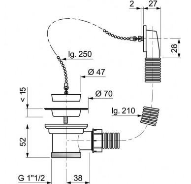Bonde à bouchon pour évier 1 bac Ø50 mm (inox) avec trop-plein rectangulaire