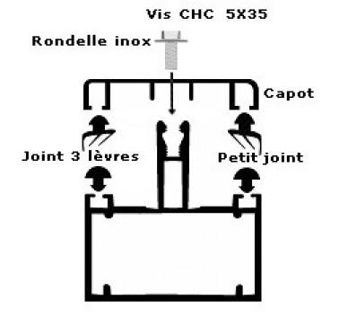 Profil tubulaire de 60mm, Modèle jonction, L 4m