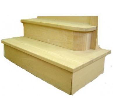 Socle en hêtre droit pour surrélévation d'escalier profondeur 30 cm