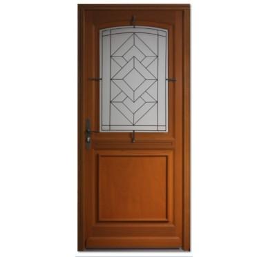 Porte d entrée bois exotique ELISA