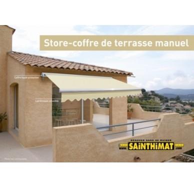 Store de terrasse à coffre semi-intégral, 3x2m (larg x prof), beige