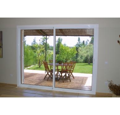 baie coulissante en aluminium h200 l240 laqu blanc rpt. Black Bedroom Furniture Sets. Home Design Ideas
