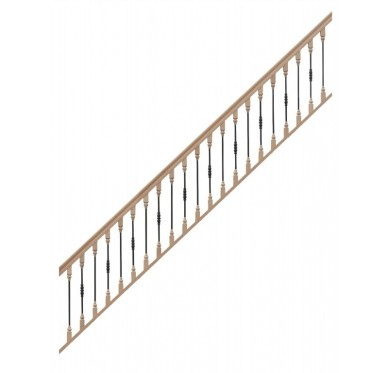Rampe pour escalier droit hauteur 272 cm balustres bois métal