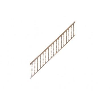 Rampe pour escalier quart tournant bas hauteur 300 cm avec marche débordante et hauteur 280 cm sans marche débordante balustres tournés