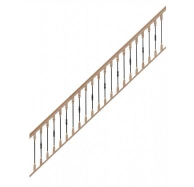 Rampe pour escalier quart tournant bas hauteur 300 cm avec marche débordante et hauteur 280 cm sans marche débordante balustres bois métal