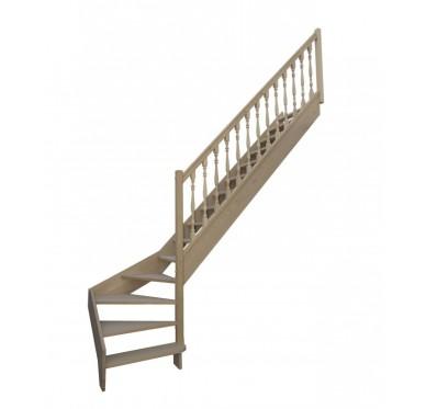 Escalier quart tournant bas droit en hêtre sans contre marches sans rampe hauteur 280 cm