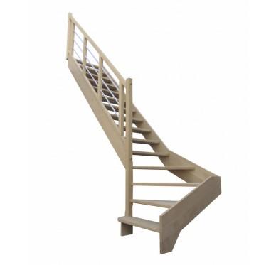 Escalier quart tournant bas gauche en hêtre sans contre marches sans rampe hauteur 280 cm