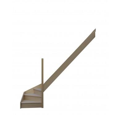 Escalier quart tournant bas droit en hêtre avec contre marches sans rampe hauteur 280 cm