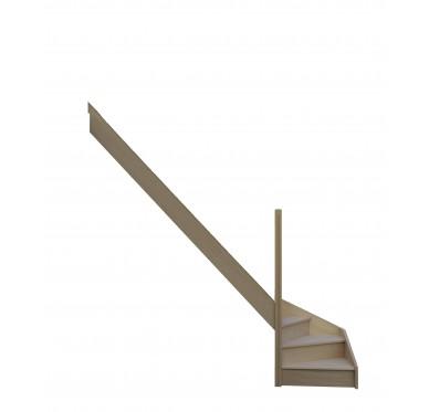 Escalier quart tournant bas gauche en hêtre avec contre marches sans rampe hauteur 280 cm