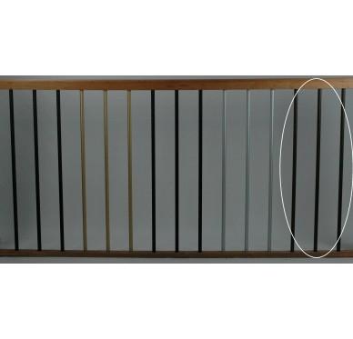 Rampe pour escalier quart tournant bas hauteur 280 cm reculement 255 cm avec marche débordante aluminium vertical bronze