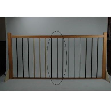 Rampe pour escalier quart tournant bas hauteur 280 cm reculement 255 cm avec marche débordante aluminium vertical chocolat